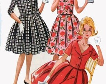 CLEARANCE SALE 1960s Box Pleated Skirt, Overblouse and Short Jacket  McCalls 5787 Vintage 60s Sewing Pattern Size Sub Teen 8 Bust 28 UNCUT