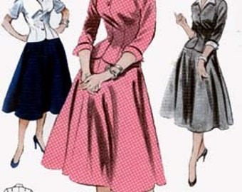Vintage 1950s Fitted MIDRIFF Dress Suit Sewing Pattern Butterick 6923 Size 18 Bust 36 Rockabilly Sewing Pattern Womens Uncut