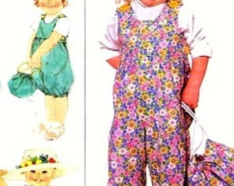 1980s Children Infant Overalls in Three Lengths and Bag  Simplicity 9275 80s Sewing Pattern Size 1