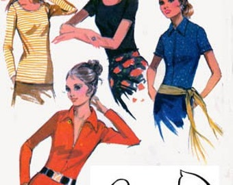Vintage 1970s Front Zipperd or SCOOP Necked Blouse Sewing Pattern McCalls 2878 70s RETRO Sewing Pattern Size 12