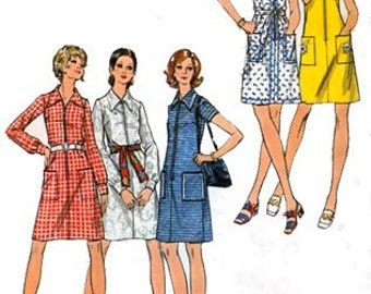 1970s A Line Front Zippered Dress Butterick 6144 Vintage 70s Womens MOD Sewing Pattern Size 14 Bust 36 UNCUT