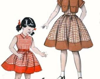 1950s Girls Dress with BOLERO Full Skirted Sleeveless w/ Jacket Butterick 6792 Vintage 50s Sewing Pattern Size 4