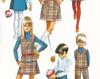 1960s Childs MOD A Line Jumper or Top, Skirt and Pants Simplicity 7785 Sewing Pattern Vintage Size 6 Breast 25