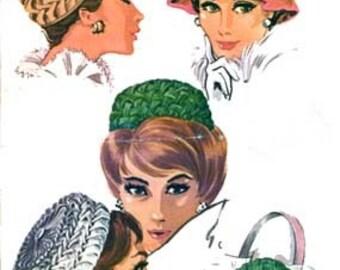 Vintage 1960s Smocked Pillbox Hat Sewing Pattern McCalls 6515 Vintage 60s RAB SEWING PATTERN Uncut One Size