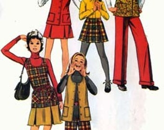 Vintage 1970s Toddlers HIPPIE Long Vest, Pleated Skirt and CUFFED Pants Sewing Pattern Simplicity 5225 Retro 70s Pattern Size 4