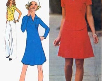 Vintage 1970s Pullover MINI Dress or Top and Skirt Sewing Pattern Simplicity 6756 RETRO Young Contempory Fashion Pattern Size 8 Bust 31.5 UC