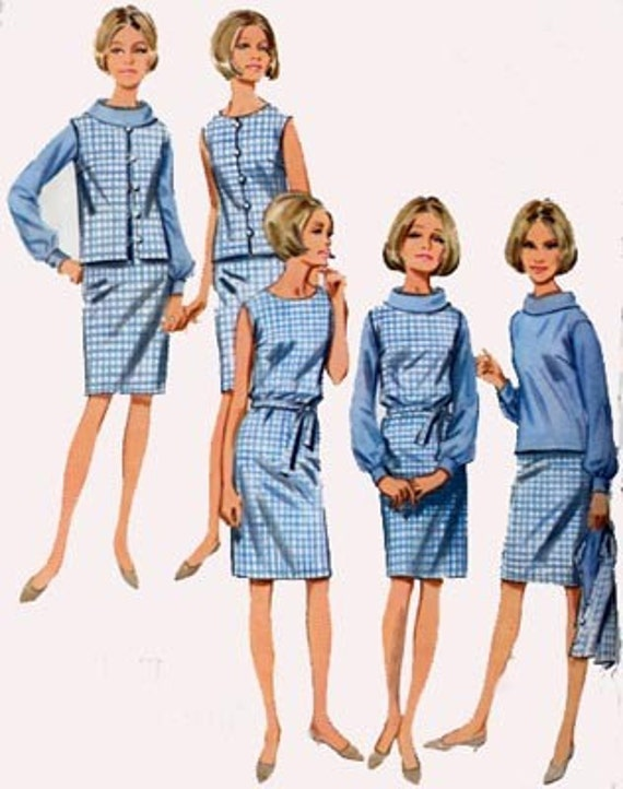 Vintage 60s Sewing Pattern Butterick 4256  MOD Jumper or Dress, Blouse and Jacket Size 10 Bust 31
