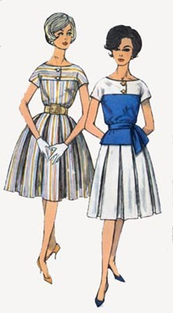 Vintage 60s Sewing Pattern Simplicity 3969 MAD MEN Dress with Box Pleated Skirt Size 11 Bust 31.5