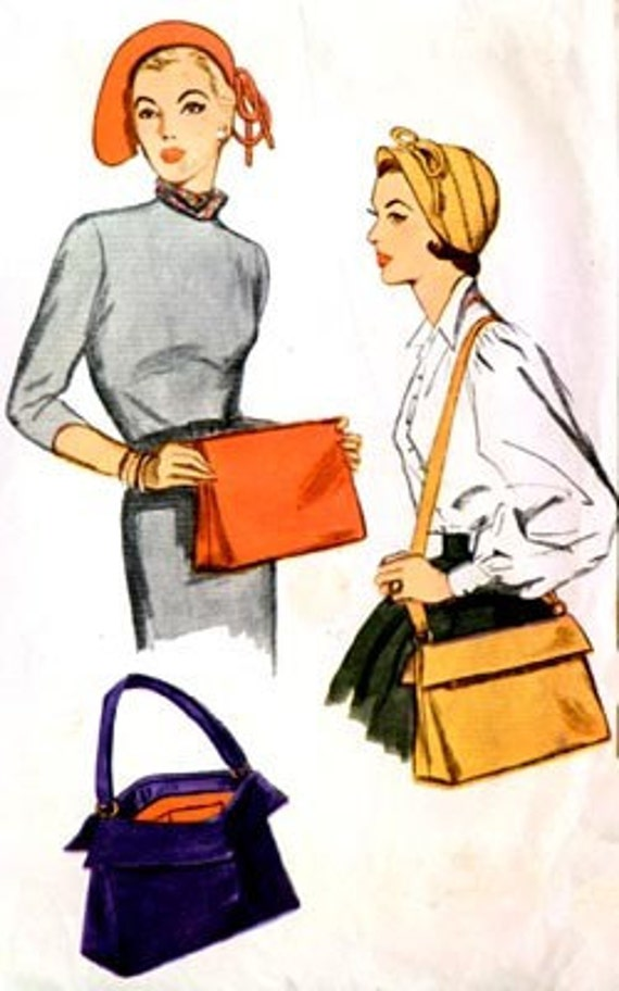 Vintage 50s Simplicity 3322 Hat and Bag Pattern Size Medium Size 24