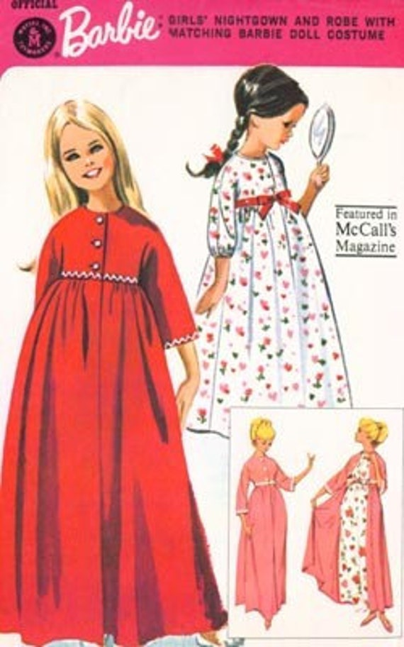 Vintage 60s McCalls 7545 Official Barbie Girls Nightgown and Robe with matching Doll costume Size 6 UNCUT