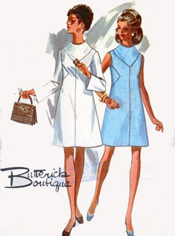 Vintage 60s Sewing Pattern Butterick 5301 MOD Bias Insets Dress Size14 Bust 36