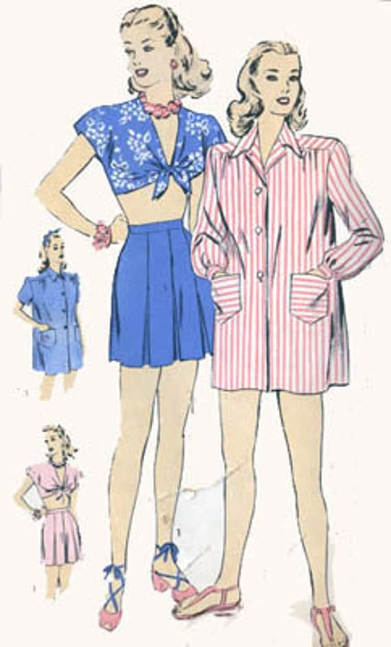 Vintage 40s Simplicity 2014 SWING ERA Midriff Top Playsuit  Pattern with Box Pleated Shorts andBeach Coverup Size 16 Bust 34