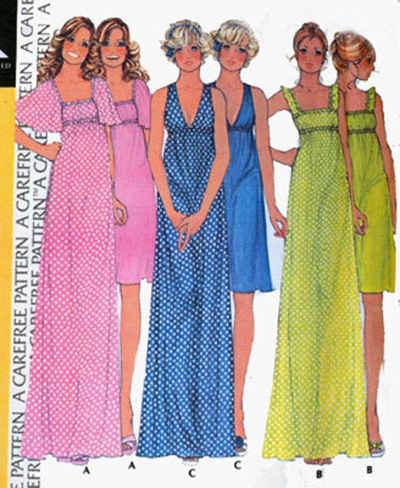 Vintage 70s McCals 4325 Misses Empire Maxi Dress Nightgown Size Small 10-12