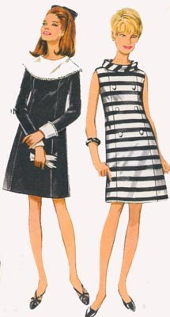 Vintage 60s Butterick 4680 MOD A Lline Mini Dress Sewing Pattern Size 12 Bust 34 UNCUT