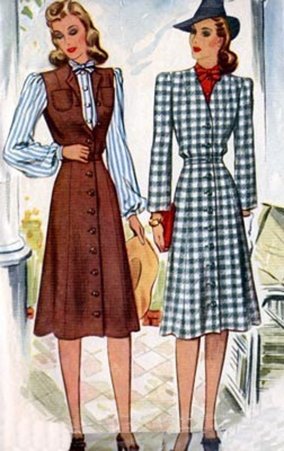 Vintage 40s McCalls 4030 Fitted Coat Dress and Blouse Sewing Pattern Size 14 B32