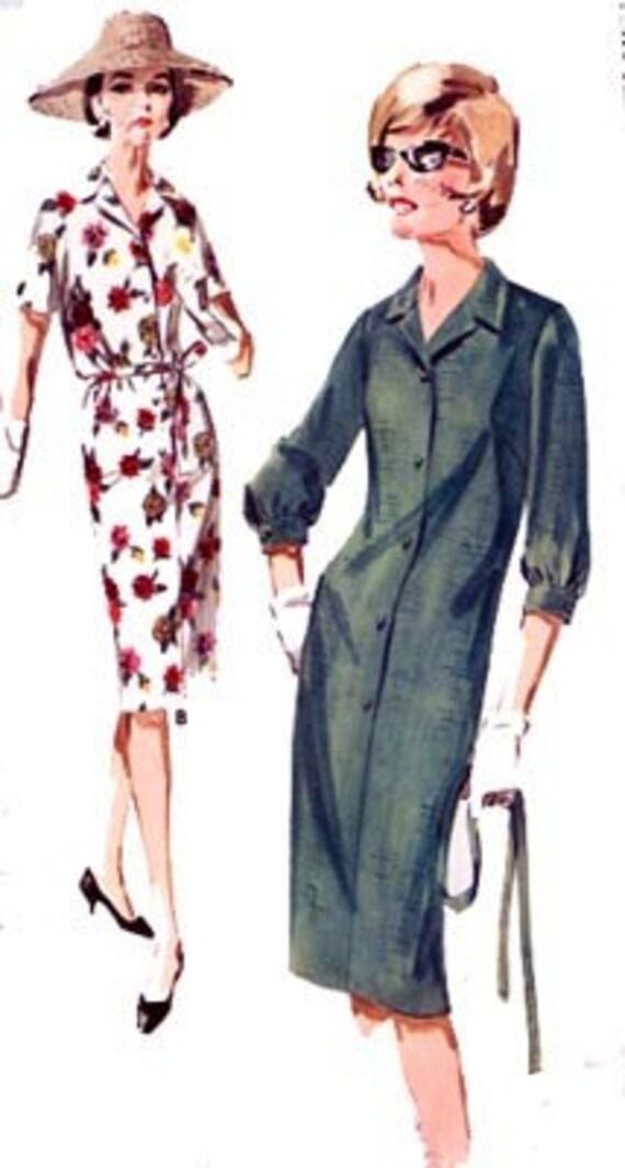 Vintage 60s Butterick 3014 MOD SHIRT SHIFT Dress Sewing Pattern Size 14.5 Bust 35