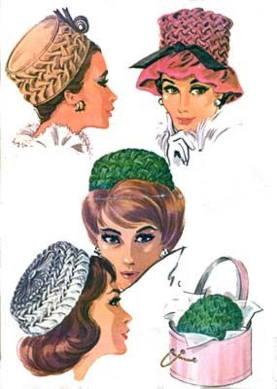 Vintage 1960s Smocked Pillbox Hat Sewing Pattern McCalls 6515 Vintage 60s RAB SEWING PATTERN Uncut One Size