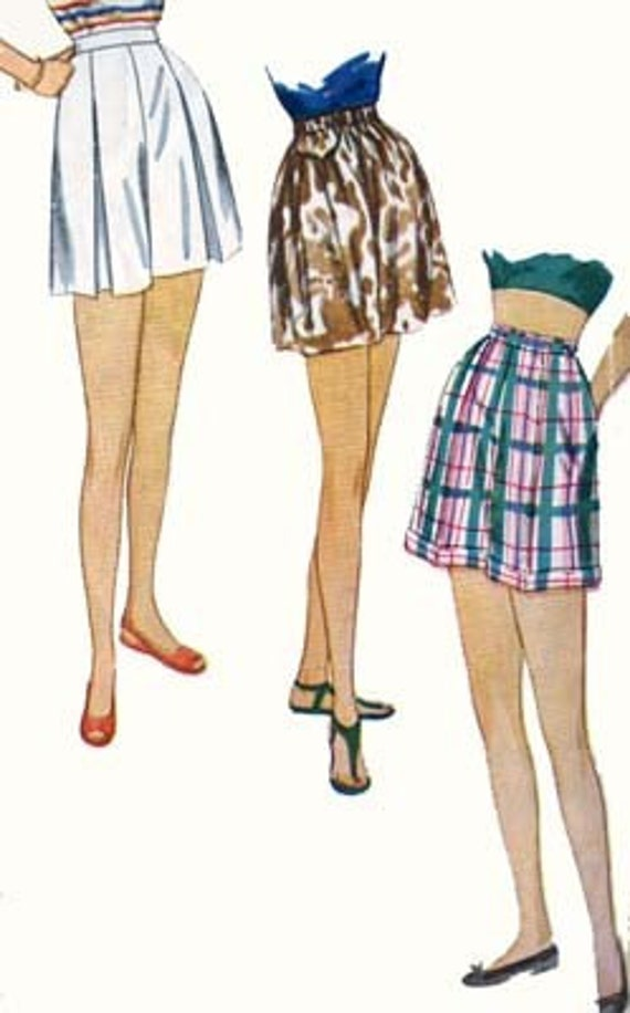 Vintage 50s Simplicity 2017 ROCKABILLY SHORT SHORTS Sewing Pattern Size 18 Wasit 30 Hip 39