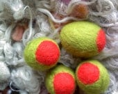 The 3 JUMBO Pimento Peace Olives, A Play Food Collection  - 50 mm size - Merino Wool