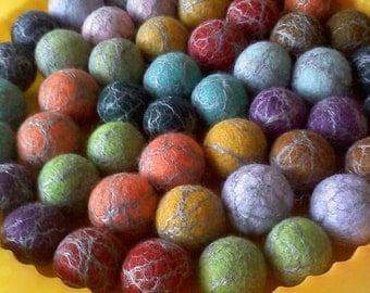48 BIG KID Silk Infused Balls, 24 Matching Colorful Pairs - Merino top wool