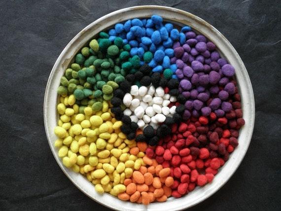 80 FRESH 2016 Solid Rainbow Dragon Scales - Merino Wool Wet Felted Beads