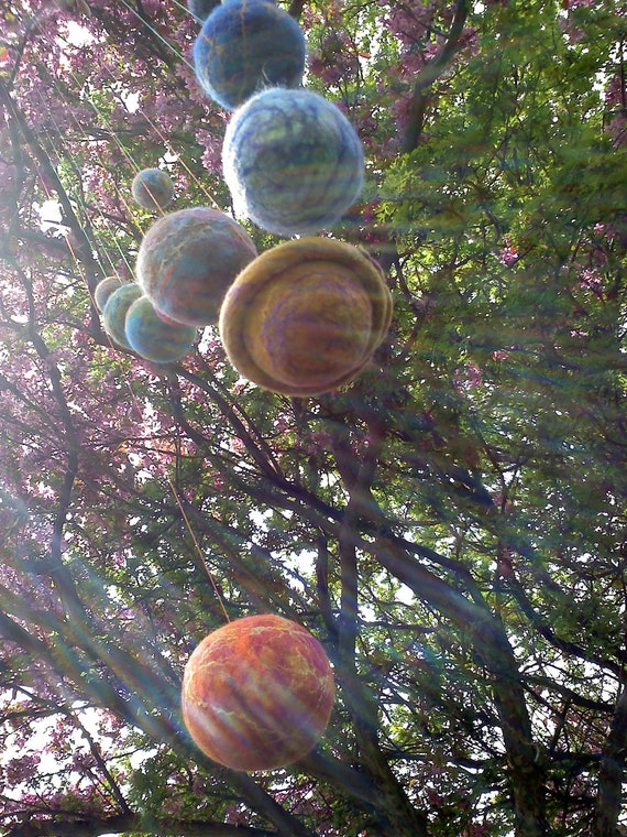 10 Mobile Solar System Set - Felt Space Ball Collection with silk infusion with POWERCORD