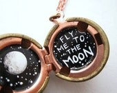 Painted Locket, Fly Me to the Moon, Please - Black and White - Individually made
