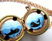 Whale and Submarine Locket - Original Hand-Painted Miniature in Oil, Aqua Blue, Black and White