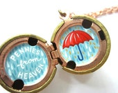 Pennies from Heaven, Hand-painted Locket - Inspiration with an Umbrella in Bright Red and Shades of Blue