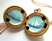 Sailboat Locket - Smooth Sailing in Aqua Blue and Clean White - Hand-painted OOAK - Calm and Fresh Seascape