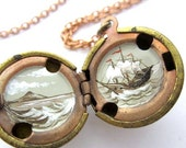 Sepia Ship Sailing a Stormy Sea, One of a Kind, Painted Antique Locket in Gray, Toffee and Pewter