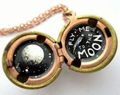 Oil Painted Locket, Fly Me to the Moon in Miniature - Black and White in a Vintage Stock Brass Ball