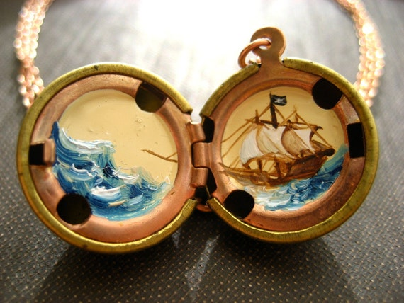 Pirate Ship at Sea Hand Painted Locket