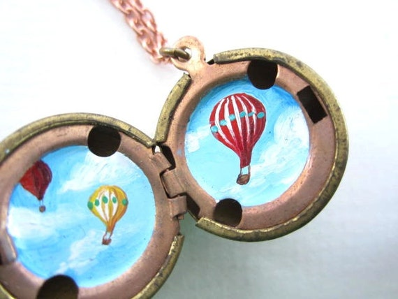 Hot Air Balloon Parade Locket - Red and Yellow in a Bright Blue Sky - Original Miniature Painting