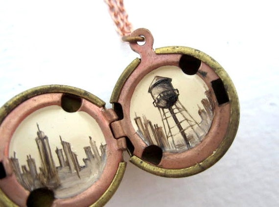 Brooklyn Locket, Microscopic Water Tower Landscape, Hand-painted in Oil