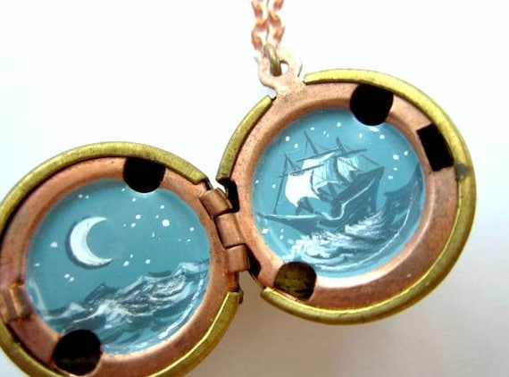 Night Sailing Locket, Under the Moon, Miniature in Dark Teal and White, Hand-painted Locket