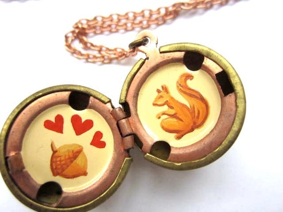 Squirrel Love Locket, Hand-painted Original in Cream, Orange and Ochre with Red Hearts