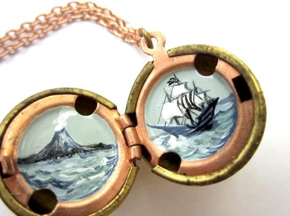 Pirate Locket - Moody Black, White and Grey Ship at Sea- Hand-painted in Vintage Stock Brass Ball