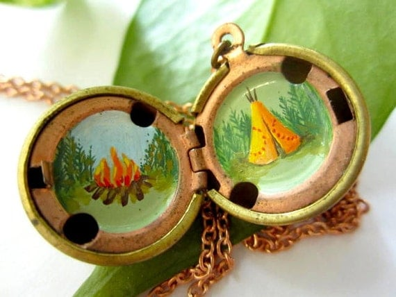 Teepee Locket - Campfire and Green Evergreen Trees in a Vintage Stock Brass Sphere - Hand-painted OOAK