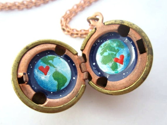 Earth Love - Hand-painted Locket, Miniature Original Artwork, Blue and Green Planet in a Deep Blue Outerspace