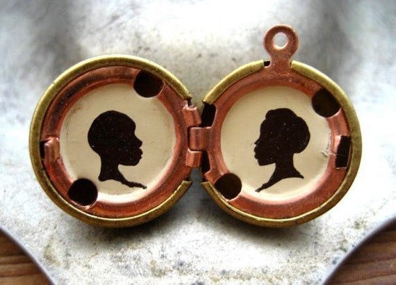 Custom Silhouette Portraits - Hand-painted in Oil - Personalized Jewelry - Vintage Brass Locket