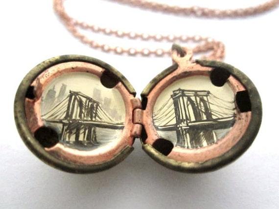 Brooklyn Bridge Locket, Miniature Old-Fashioned Landscape, Original Painting in Cream and Sepia Oil