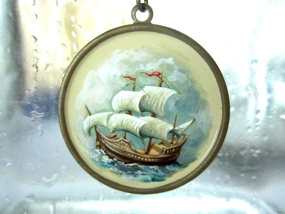 Hand-painted Pendant Necklace - Stormy Sailing Ship Seascape in Oil Paint