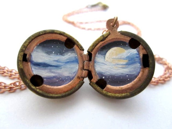 Moon Locket, Misty Moody Midnight Sky, Individually Hand-painted in Cobalt Blue, Lavender and White