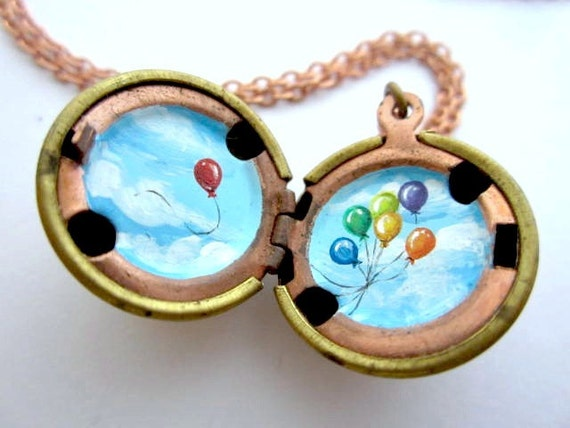 Painted Locket - Fly Away Balloons in Blue Sky with White Clouds, One of a Kind Miniature