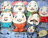 Reserved fo angie  Original Humpty Dumpty Family Painting