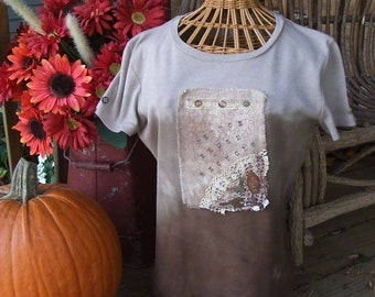 """Upcycled """" Recycle"""" Overdyed, Stitched, Found Object Tee Shirt"""