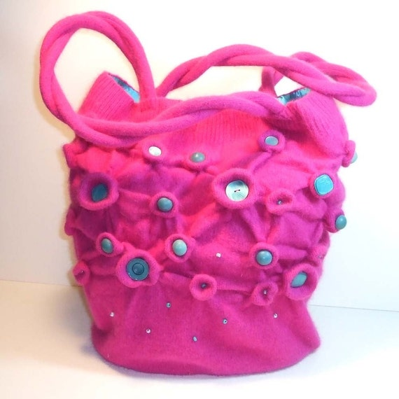 Felted Fuchsia Pink Bag