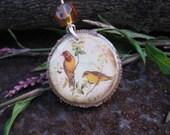 Necklace-Beautiful Birds on a Tulip Poplar Wood Slice CLEARANCE