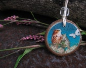 Necklace-Wise Owl Pair with Butterfly on a Tulip Poplar Wood Slice CLEARANCE